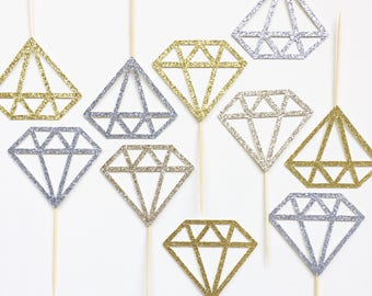Glitter Diamond Cupcake Toppers | Engagement Cupcake Toppers | Bridal Shower Cupcake Toppers | Bachelorette Party Cupcake Toppers