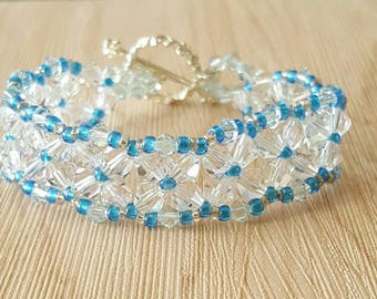 Women's bracelets swarovski clear crystals and blue accents