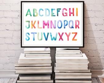 "Watercolor Alphabet nursery Print, Alphabet Print,  Alphabet baby nursery print, abc Wall Art, Playroom Wall Art, ABC Nursery Art Print ""2"""