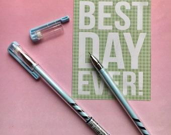 Candy Stripe Gel Pen - Light Blue