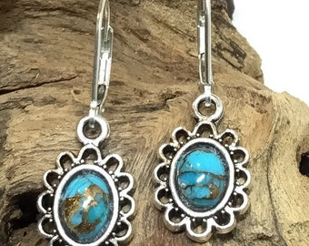 Earrings - Natural Bright Copper Blue Arizona Turquoise - Sterling Silver Earring Wires - Antique Silver Dangle with 6x8mm Cabochon