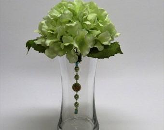 Green Hydrangea, Gold and Blue Glass Beads Floral Arrangement Centerpiece