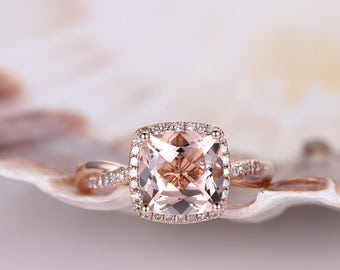 8mm cushion cut morganite bridal ringmorganite ringtwist diamond matching banddiamond - Morganite Wedding Rings