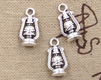 Bulk 50 Pcs Lantern Charms Oil Lamp Charms Antique Silver Tone 3D Lantern Charms Camping Charms Charm Bracelet Bangle Bracelet Pendants #873