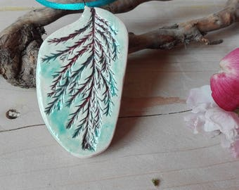 ceramic necklace botanical with real cypress leaf/ pendent handmade with imprint/ modern jewelry/ natural with silk/ boho/harvested pressed