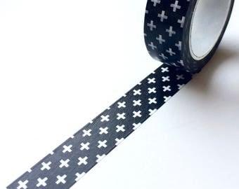 Black and White Cross Washi Tape Monochrome
