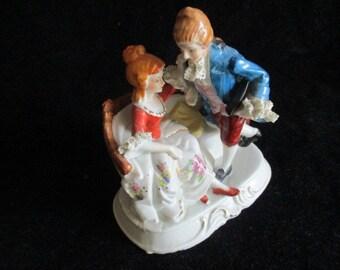 Vintage Courting Romantic Couple Porcelain Figurine Japan