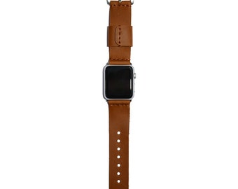 Cognac Leather Apple Watch Band 42mm - 38mm / iWatch Band, Apple Watch Accessories, Apple Watch Strap Leather, Rose Gold Lugs Adapter