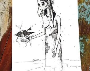 Thunderbird - Woman - Native - Unique - Art Therapy - New Home - Depression - Mental Health - Black Ink - Wall Art - Jonathan Thunder