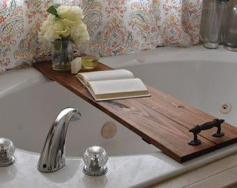 Large Bath Caddy/Large Bathtub Caddy/Rustic Bath Tray/Rustic Bathtub Decor/Bath Tray/Wood Tray/Rustic Wood Tray
