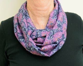Liberty of London Fabric Infinity Scarf Purple Floral