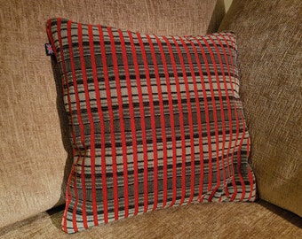 Routemaster Moquette Cushion - Red & Grey Tartan - 40x40cm London Transport, London Bus
