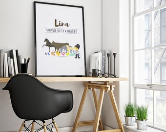 Poster trades: Vet - customizable - gilding - color-decoration - child - room