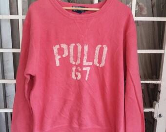 Vintage 90s Polo ralph lauren 67 sweatshirt spellout/pink/large/polo sport/polo rl92/polo stadium/polo ski/polo bear
