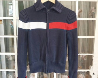 Vintage tommy hilfiger jumper pullover with turtle neck/big flag/small/blue/tommy jeans/tommy lotus/tommy girl