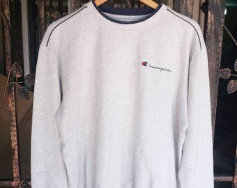 Vintage Champion spellout embroidery/LL size/white grey/sportwear/hip hop/streetwear