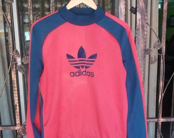 Vintage Adidas france sweatshirt big logo velvet/2 colour/medium/made in france/sportwear/streetwear