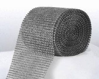 Diamante Effect  Cake Mesh Ribbon – Silver x 1m
