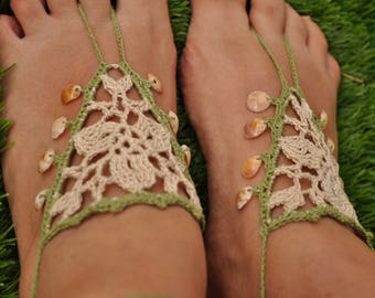 Crochet barefoot sandals, shells beaded, Beach sandals with shells, Wedding sandals, Yoga foot jewelery, mocha and olive green