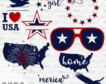 4th of July Svg, Patriotic Svg, Summer Svg, Monogram Frames Svg, fourth of july svg, svg designs, svg files, Silhouette, Cricut, svg files