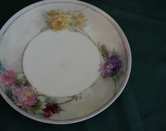 Hand painted Thomas Bavaria Collectible Floral Plate