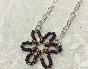 Plum Beaded Flower Necklace