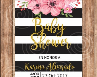 Invitation Baby Shower, Flowers, Kate Spade, flowers, pink, black.