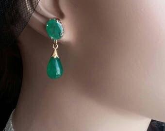 14k Gold Emerald Dangle Earrings
