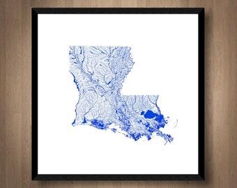 Waterways of Louisiana map art   Printable Louisiana map print, Louisiana print, Louisiana poster, Louisiana art, Louisiana wall art, Rivers