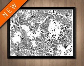 Buildings of Tokyo map art | Printable Tokyo map print, Tokyo print, Tokyo poster, Tokyo art, Tokyo wall art, Tokyo gift, Japan map print