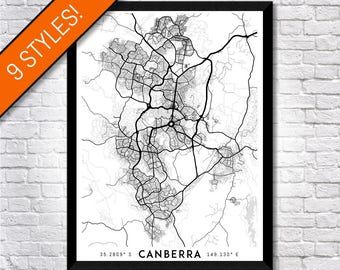Every Road in Canberra map art | High-res digital ACT map print, Canberra print, Canberra poster, Canberra art, Wall art, Canberra gift idea