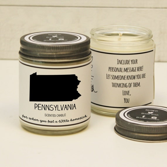 pennsylvania scented candle homesick gift feeling