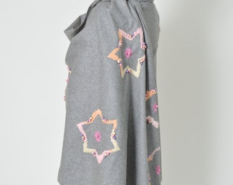 Grey Flannel Shawl, Oversize Winter Wrap Warm,  Gift for Her, Embroidered Unique Gift for Her