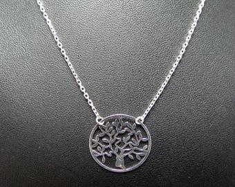 Necklace silver rhodié tree of life