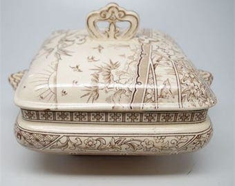 G & W Late Mayers Melbourne 1800 Tureen AESTHETIC  Brown Transferware