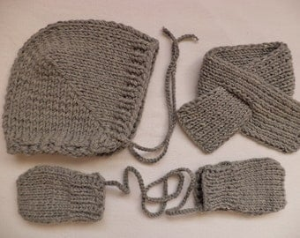 Baby Beanie merino wool scarf mittens set Hat knitted gloves