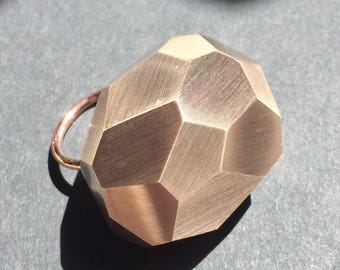 Big rock ring faceted bronze