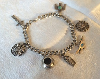 Native-American Themed Charm Bracelet, Sterling