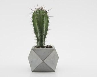 Grey Single Tier Geometric Planter / Concrete Pot / Cement Planter