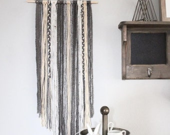 Ready To Ship - 'Coffee' Yarn Wall Hanging, Greys, Oatmeal, Cream, and Tweed, 12""
