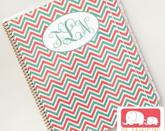 Planner for Kids in Custom Monogram Coral Chevron, School Year August 2017 - July 2018