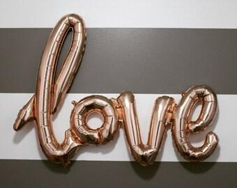 Love - Rose Gold Foil Letter Balloon; Metallic; Foil Balloon; Love; Valentine; Engagement; Wedding; Bachelorette; Party;
