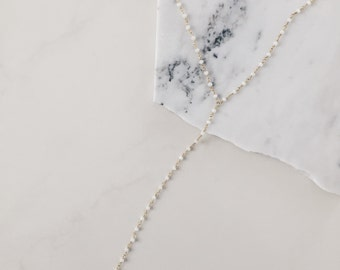 The Graham Lariat- Gold and white chalcedony rosary chain lariat/Y necklace - gold lariat - layering necklace