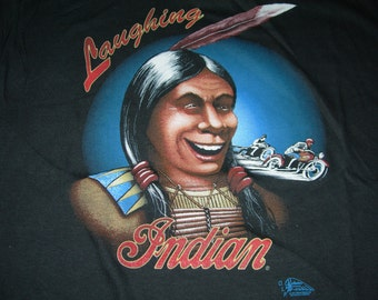 Vintage indian motorcycle t shirt laughing indian by trinity productions made in the usa 1991