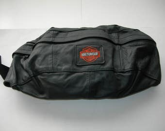 Harley Davidson large  vintage leather  belt bag for men new !