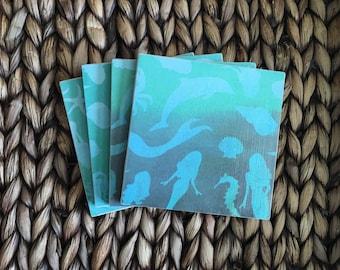 Coasters, Mermaid Coasters, Blue Coasters, Decorative Coasters, Set of 4 Coasters, Tile Coasters, Drink Coasters, Ceramic Coasters