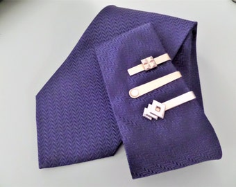 Retro Trio Classic Tie Clips two by SWANK vintage