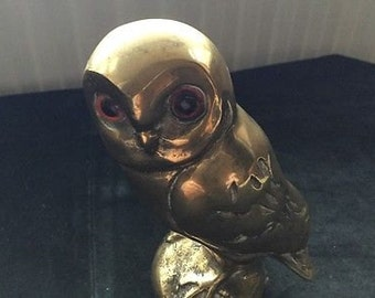 Vintage Heavy Solid Brass Owl Figure
