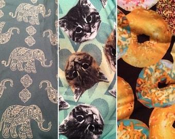 WOMEN'S Brushed Poly Print Leggings/ doughnut Leggings/ kitten cat kitty leggings/ elephant Leggings