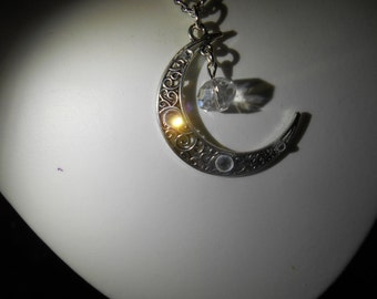 Moon and stars,moon necklace and earring set
